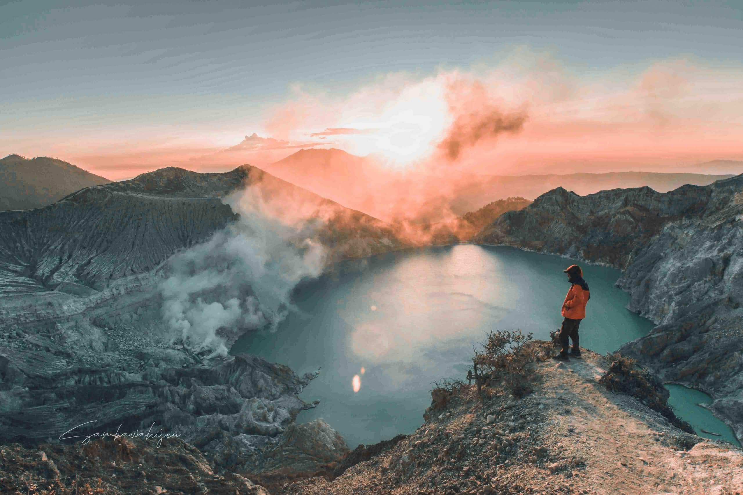Ijen crater the largest acidic lake in the world.